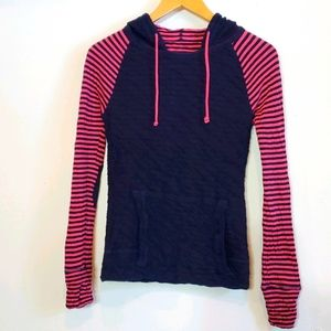 Evy's Tree Sweatshirt Hoodie Navy Pink Strip Small